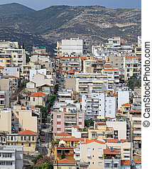Kavala Greece - Aerial photo of Kavala streets in Greece