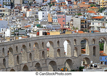Aqueduct Kavala - Old Byzantine aqueduct structure in Kavala...