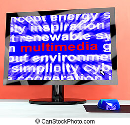 Multimedia Word On Computer Showing Digital Technology For Movie