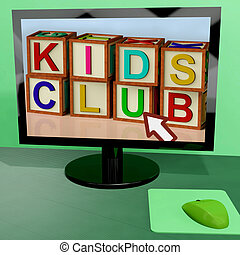 Kids Club Blocks On Computer Shows Childrens Learning - Kids...