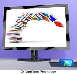 Stack Of Books Falling On Computer Shows Online Learning
