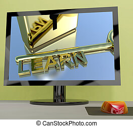 Learn Key On Computer Screen Showing Online Education -...