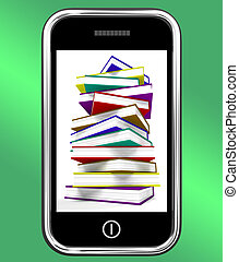 Mobile Phone With Books Shows Online Knowledge - Mobile...