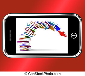 Mobile Phone With Falling Books Shows Online Knowledge