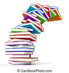 Stack Of Colorful Falling Books Represents Learning And...