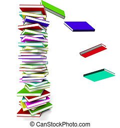 Stack Of Books With Some Falling Represents Learning And Education