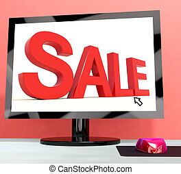 Sale Message On Computer Shows Online Discounts
