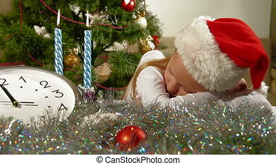 Christmas Child Sleeping - Little girl dreams of Christmas...