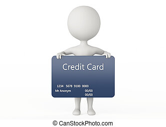 3d humanoid character hold a credit card on white