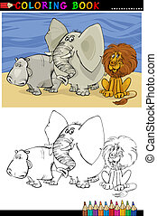 Wild Safari Animals for Coloring - Coloring Book or Page...