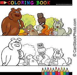 Wild Animals for Coloring - Coloring Book or Page Cartoon...