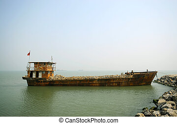transport ship in a pier, China
