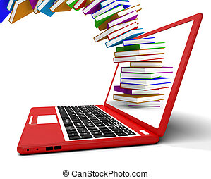 Stack Of Books Flying From Computer Shows Online Learning -...