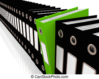Green File Amongst Black For Getting Office Organized -...