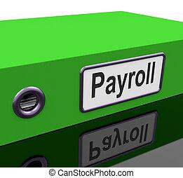 folha pagamento, arquivo, contém, empregado,...