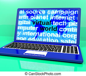 Virtual World Words On Laptop Showing Global Internet