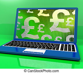 Pound Symbols On Computer Showing Money And Investment -...