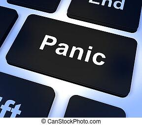 pânico, computador, tecla, mostrando, ansiedade,...