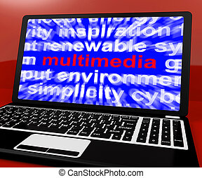 Multimedia Word On Laptop Showing Technology For Movies