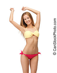 beautiful woman in bikini - bright picture of beautiful...