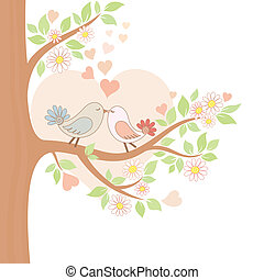 Two kissing birds on the tree - Decorative color vector...