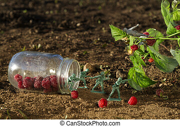 raspberrie figth - four green toy soldier protecting a jar...