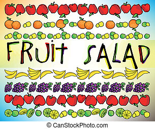 Fruit salad menu. Vector illustration