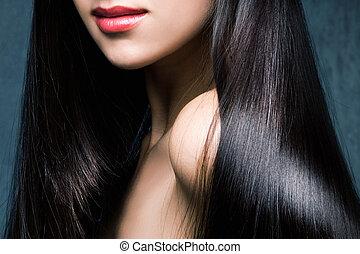 brilhante, pretas, cabelo