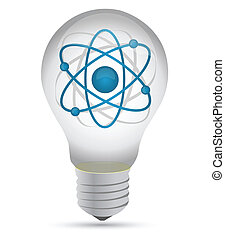atom inside a lightbulb illustration design over white