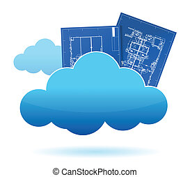 blueprint plants cloud storage concept illustration design
