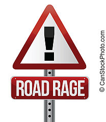 road traffic sign with a road rage concept