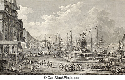 Port of Messina - Old illustration of port of Messina. By...