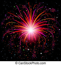 Firework, holiday background of bright colors on black, for...