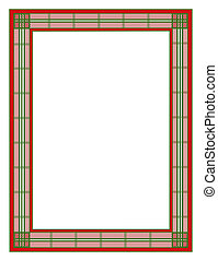 Red and Green Plaid Holiday Frame - Illustration of a red...