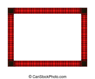 Red Plaid Holiday Frame, Landscape - Illustration of a red...