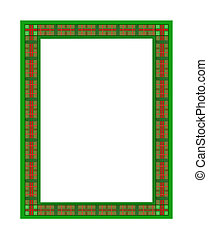 Green and Red Plaid Frame - Illustration of a green and red...