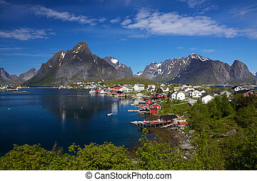 Reine - Picturesque town of Reine by the fjord on Lofoten...