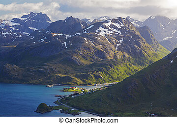 Norwegian fjords - Aerial view of picturesque fjords on...