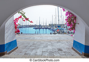 Gran canaria Puerto de Mogan marina boats in Canary Islands