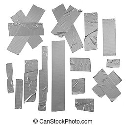 Duct tape patterns isolated - Duct repair tape silver...