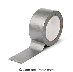 Duct tape roll isolated - Duct tape roll silver repair reel...