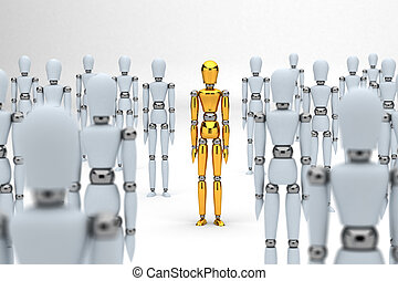 Individuality - Golden mannequin standing out between white...