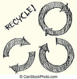 Hand drawn recycle circle arrow