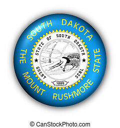 Round Button USA State Flag of South Dakota - USA States...