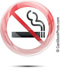 No smoking sign in the glossy glass