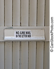 Letter box - Door with letter box and message No junk mail...