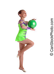young child gymnast dance with green ball