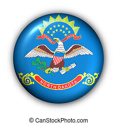 Round Button USA State Flag of North Dakota - USA States...