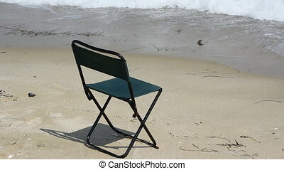 chair on beautiful beach and sea (1920x1080/30p, tripod)