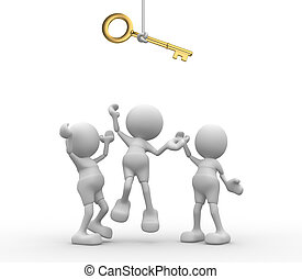 Key - 3d people - men, person are fighting for a key.